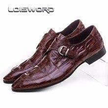 Крокодил зерна коричневый загар/черные мужские туфли натуральная кожа свадебные туфли повседневная мужская обувь в деловом стиле с пряжкой