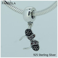 Compatible With Pandora Bracelets 925 Sterling Silver Jewelry Minnie Headband Dangle Black Red Charms CKK