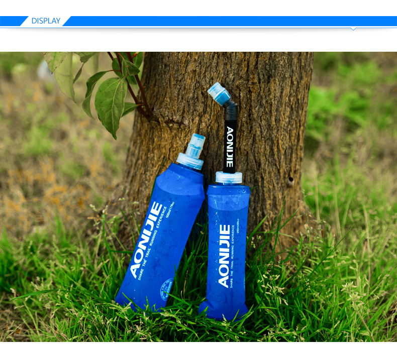 Foto of two water's flask folding TPU for sport. Collapsible flask of water 500ml for hiking