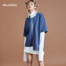 MOJONOO Autumn Winter Patchwork Turtleneck Blouses Women Tops Long Sleeves Two Piece Set Cardigan Shirt + Blouse Femme Automne