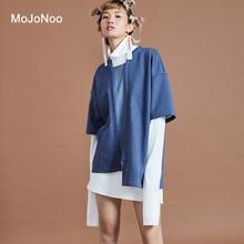 MOJONOO Autumn Winter Patchwork Turtleneck Blouses Women Tops Long Sleeves Two Piece Set Cardigan Shirt + Blouse Femme Automne