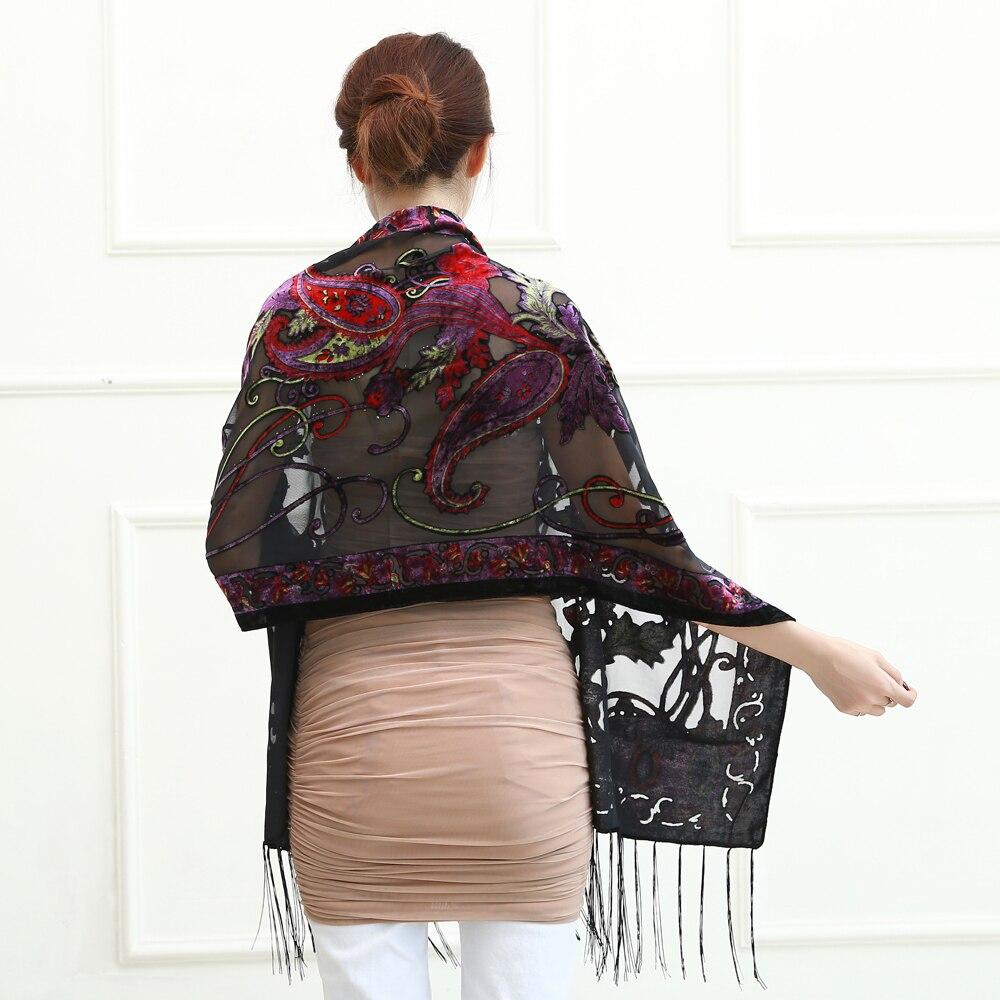 Новые горячие Испания кешью цветы шарфы для женщин выгорания бархат шаль женский весна зима подарок мама, жена