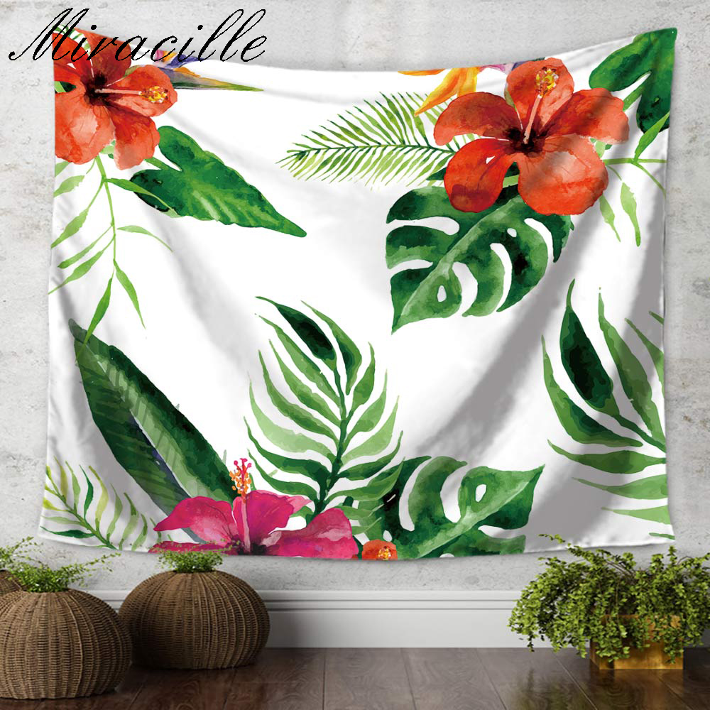 Miracille Tropical Flowers Printed Tapestry Wall Hanging Home Decorative Tapiz Sofa Chair Cover Sheet belgium New Bedding