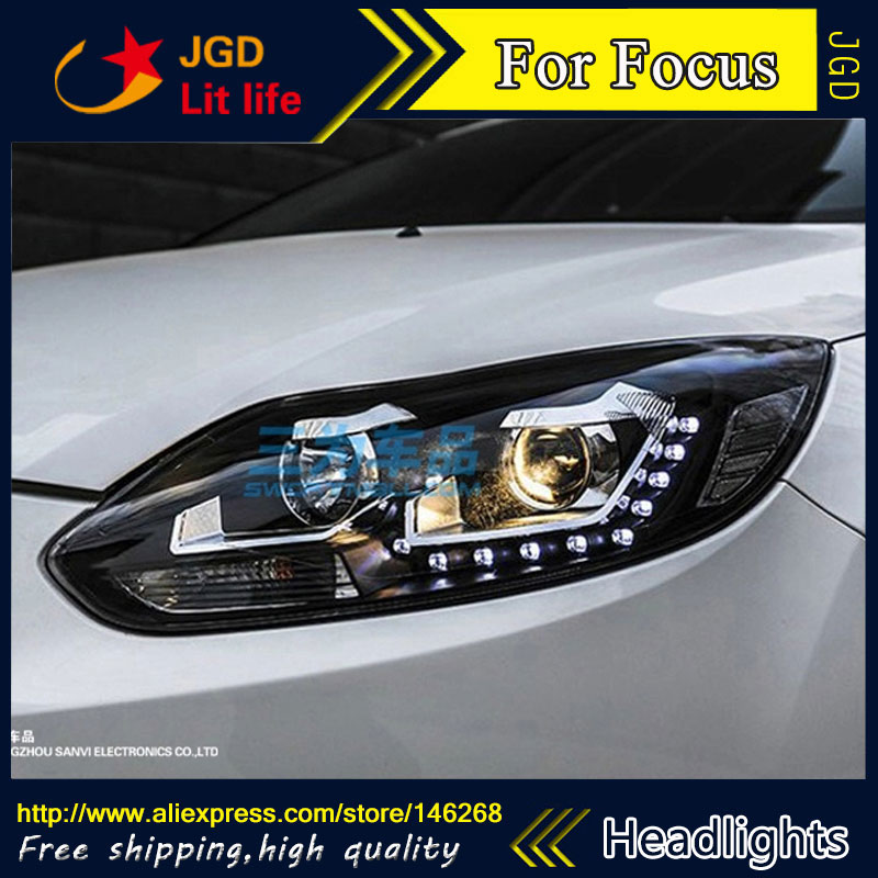 Free shipping ! Car styling LED HID Rio LED headlights Head Lamp case for Ford Focus 2012 Bi-Xenon Lens low beam 1 pcs diy car styling new pu leather free punch with cup holder central armrest cover case for ford 2013 fiesta part accessories