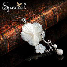 Special New Sea Shell Pendant 925-Sterling-Silver Maxi Necklace Natural Pearls Women Statement Necklace 2017 XL141184