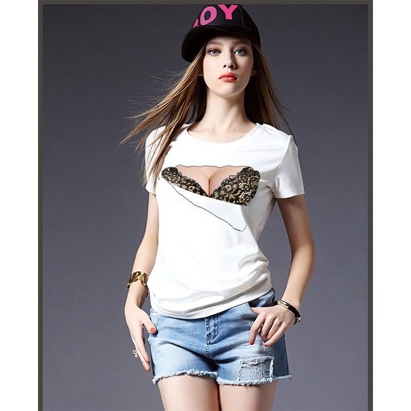 3D Sexy Woman Printing Tees T Shirts Fake Breast Tear Bra Design t ...