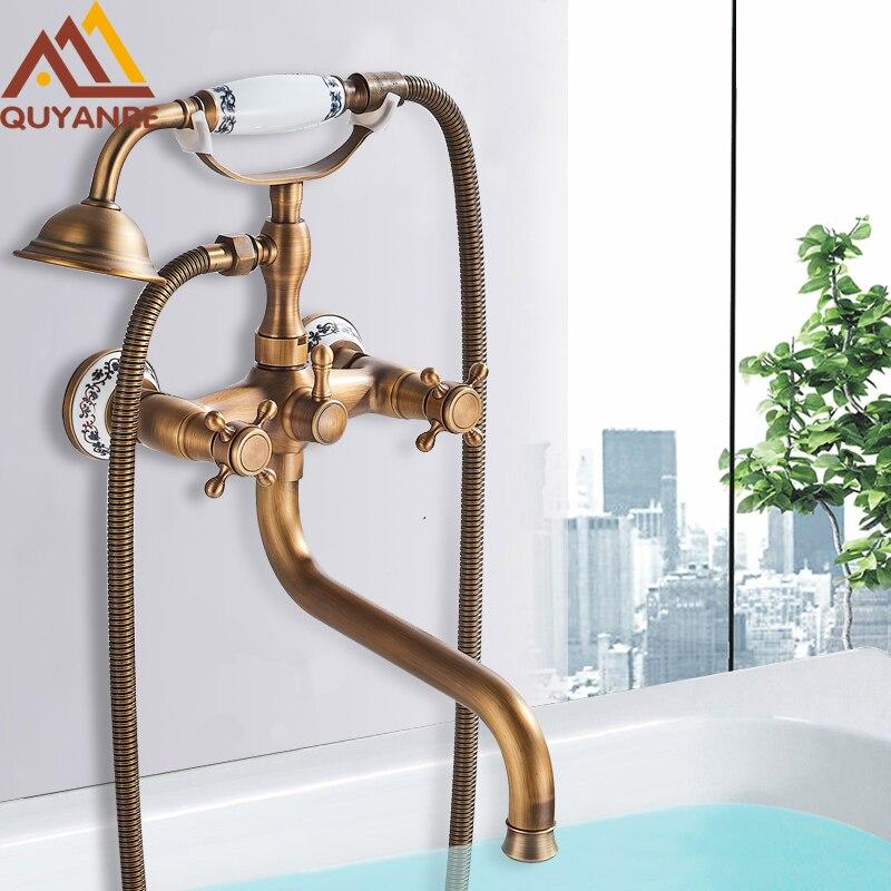 Quyanre Antique Brass Bathtub Shower Faucet Wall Mount Bath Shower Mixer Tap 30cm Spout 360 Rotation