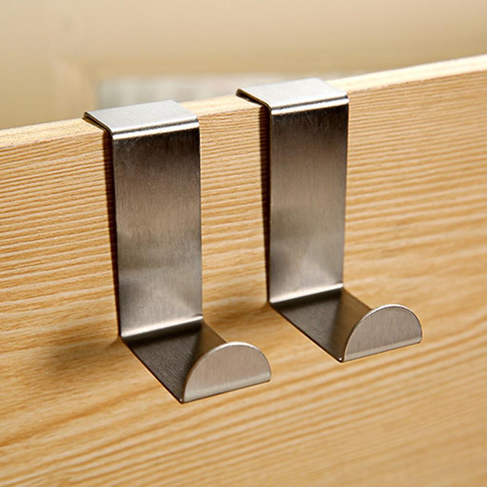 2PC Door Hook Stainless Kitchen Cabinet Clothes Hanger Reusable Bathroom Kitchen Accessories Practical Tools Hanger #70