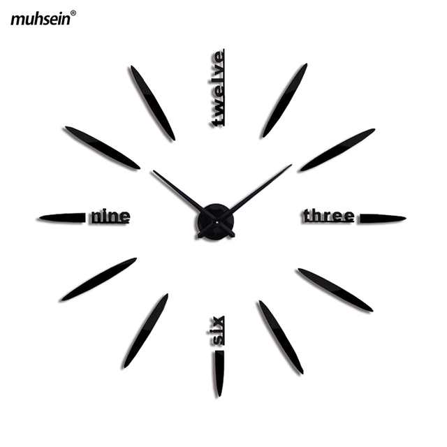 2018 muhsein Modern Design 3D DIY Large Home Decoration Mirror Wall Clock Decorative Wall Clocks Watch Wall Unique Weeding Gift