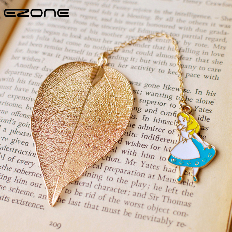 EZOBE Bookmark Lovely Alice Rabbit Book Marks High-Grade Gold Color Leaf Texture Reading Pages Books Mark Student Stationery