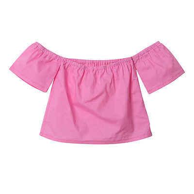 เด็กวัยหัดเดินเด็กทารกเด็กผู้หญิงเด็กฝ้ายเสื้อแขนสั้นสีชมพู Tee Tops เสื้อผ้าสบายๆฤดูร้อน