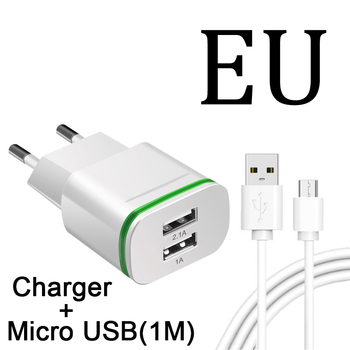 EU 2 Plug Dual Charger Ports For Xiaomi Redmi S2 5 6 Pro Note 4 4X Plus 4A 5A 6A Mobile Phone Micro Usb Cable 1M Power Charging
