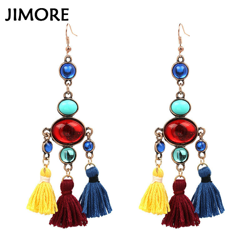 JIMORE] Women Three Layers Tassel Earring 2017 New Handmade Ethnic ...