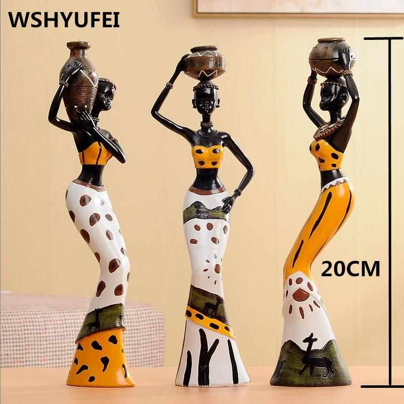 3pcs/set Tribal African Girl Resin Figurines Decorative Crafts Ornaments Home Decoration Accessories Statue Wedding decoration