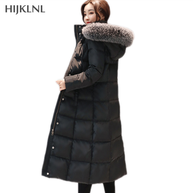 HIJKLNL Women's Down Jackets 2019 New Winter Long Thick Down Coat	Real Fox Collar Fur Hooded Slim Duck Down Jacket Parka LH1157
