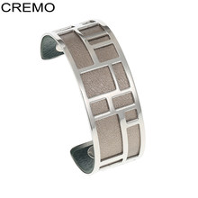 Cremo Bracelets & Bangles Stainless Steel Bracelet Bijoux Femme Manchette Reversible Leather Cuff Pulseiras(China)
