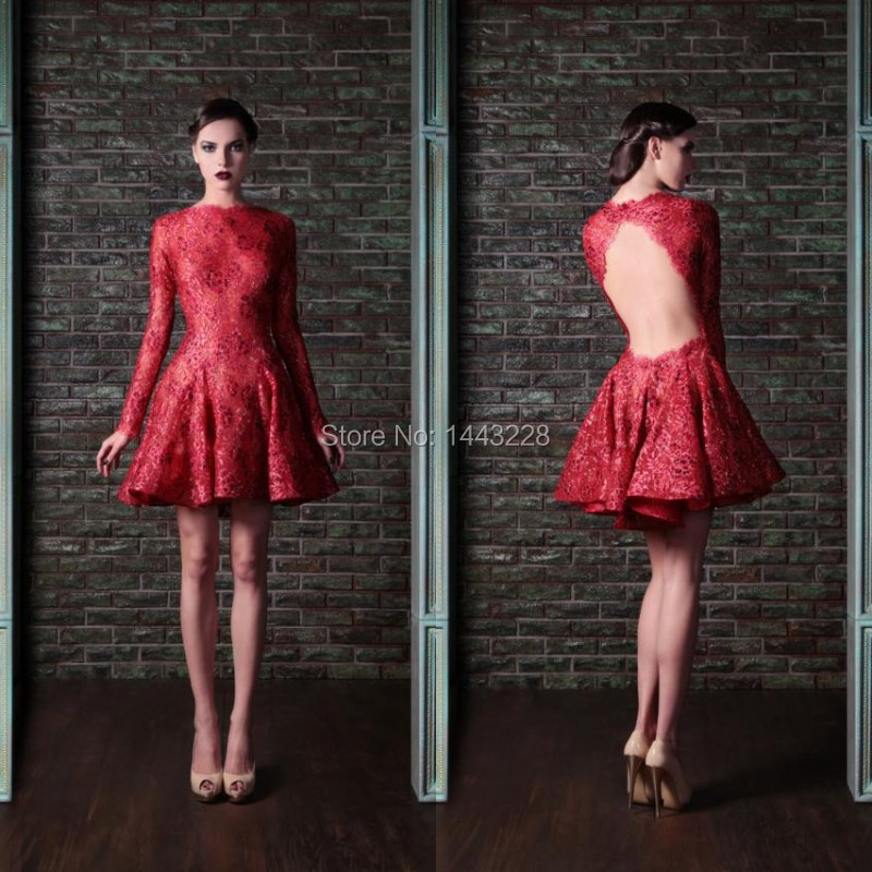 Long Sleeve Red Lace Prom font b Dress b font Open Back Short font b Cocktail