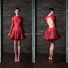 Langarm-rote Spitze Abendkleid Open Back Kurze Cocktail Party Kleid vestido de festa curto