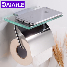 Toilet Paper Holder with Shelf Cover Brass Glass Bathroom Tissue Roll Paper Holder Decorative Paper Towel Holders Wall Mounted цена