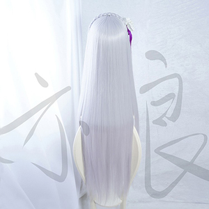 Image 2 - 100cm Long Silver Purple Re: Life in a Different World from Zero Emilia Heat Resistant Hair Cosplay Costume Wig + Free Wig Cap