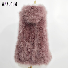 Hair-Vest Real-Fur-Coat Ostrich Long-Plus New Hat 70cm Hand-Weaving Fresh Encrypted Small