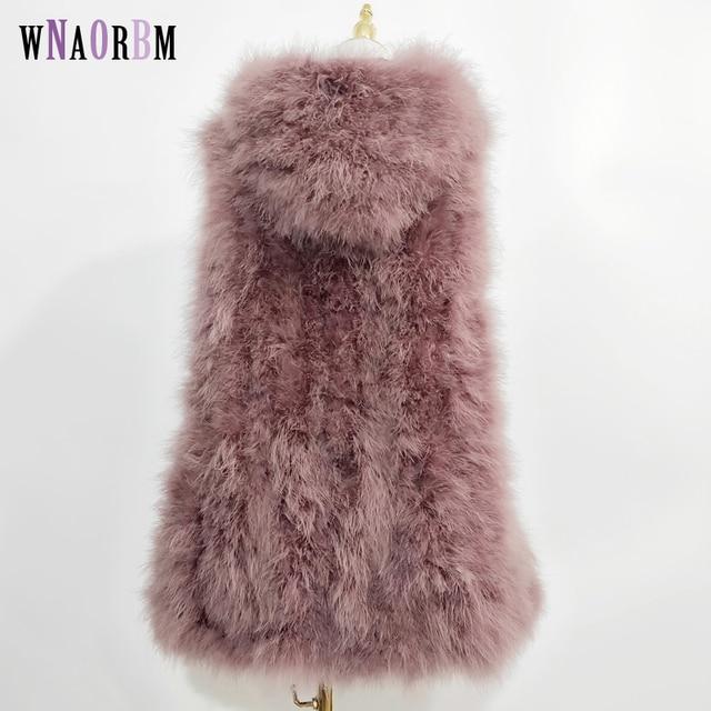 Yeni devekuşu saç yelek 90 cm uzun artı şapka küçük taze 100% türkiye tüy yelek gerçek kürk ceket Şifreli el dokuma