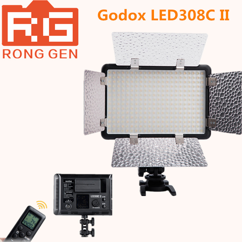 Godox LED308C II 3300-5600K LED Video Studio Light w/ Remote Control &Barndoor for Canon Nikon Panasonic JVC Camera Camcorder DV godox led 308y 308 leds professional led video 3300k light with remote control for canon nikon camera dv camcorder