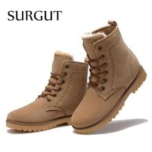 surgut  2017 fashion winter shoes for men suede pu leather snow men boots  comfy casual shoes men size 35-44