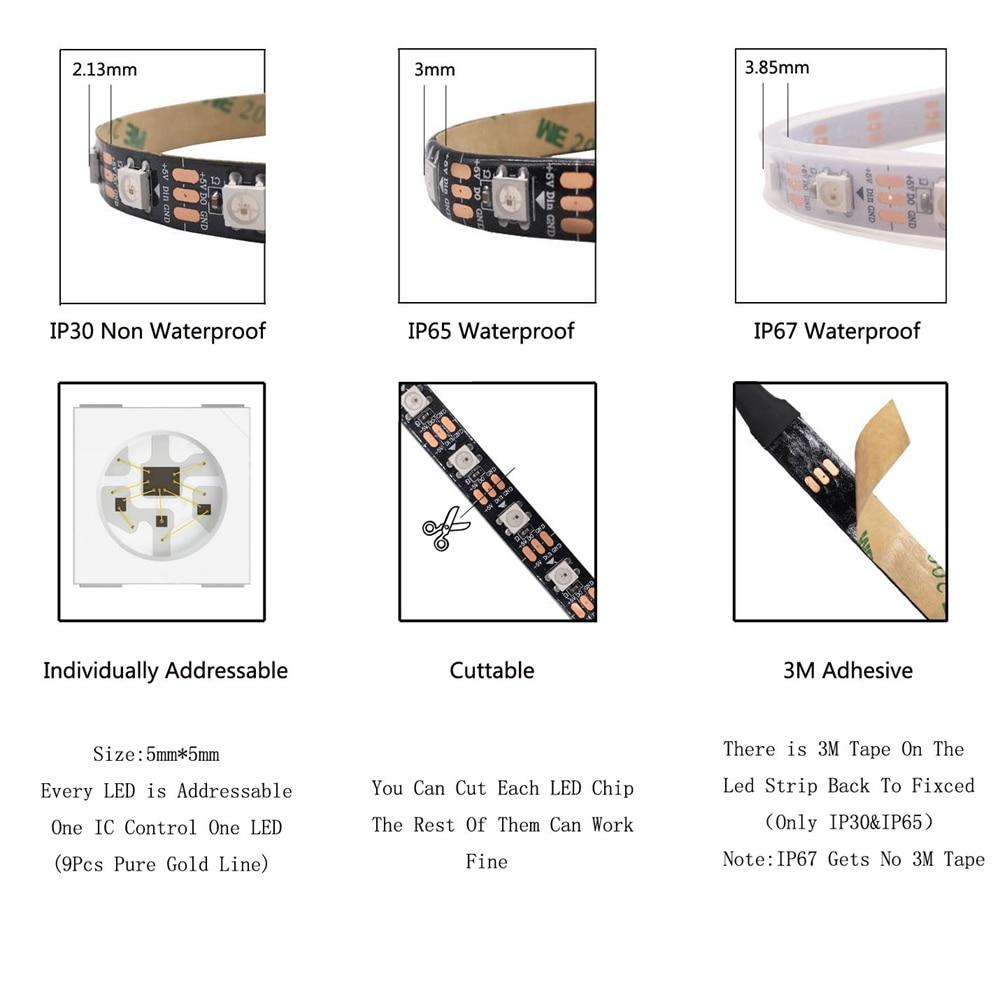 1m 2m 3m 4m 5m WS2812B WS2812 Led Strip,Individually Addressable Smart RGB Led Strip,Black/White PCB Waterproof IP30/65/67 DC5V 3
