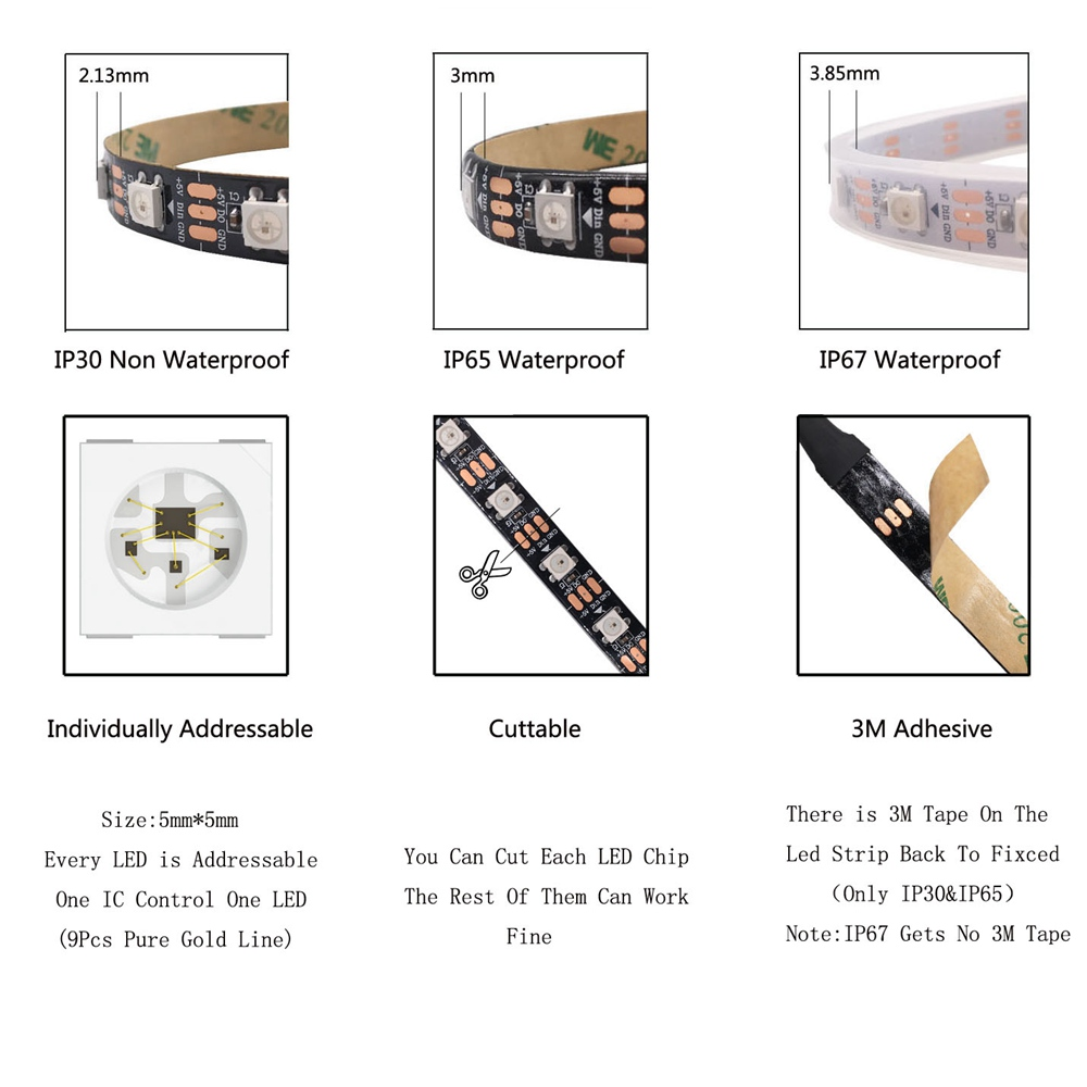 1m 2m 3m 4m 5m WS2812B WS2812 Led Strip,Individually Addressable Smart RGB Led Strip,Black/White PCB Waterproof IP30/65/67 DC5V