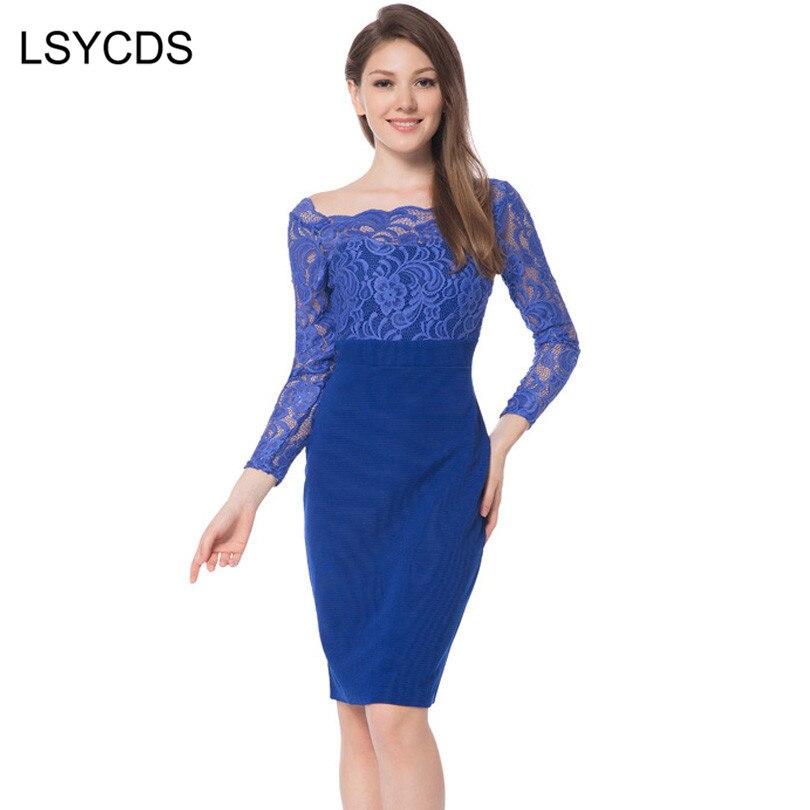 2018 Autumn Ladies Lace Dress Long Sleeve Slash Neck Blue Party Wedding Casual Sheath Sexy Patchwork Women Dress Vintage ED A560