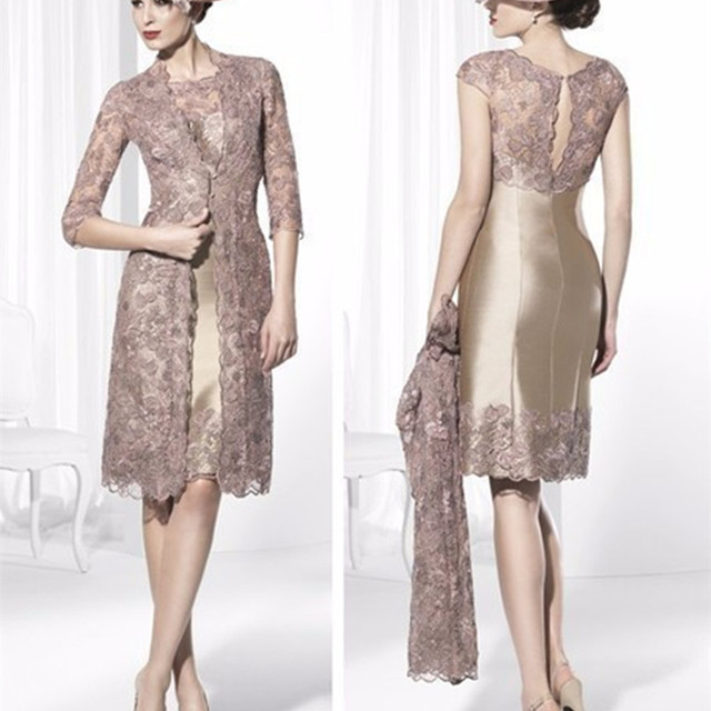 5181b5a4256 Mother Of The Bride Dresses elegant knee length 2017 plus size Vestido de  madrinha With Jacket Lace Women Formal Outfit Dress