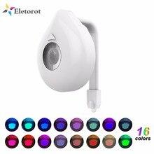 16 cores banheiro luz da noite inteligente sensor de movimento corpo pir led lâmpada assento do toalete movimento ativado banheiro bacia noite lâmpada