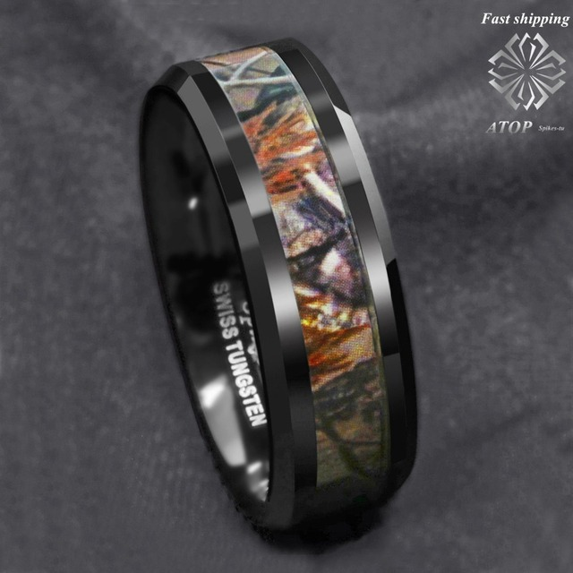 Black Men S Tungsten Ring Red Forest Camouflage Camo Hunting Band Size 6 13 Free