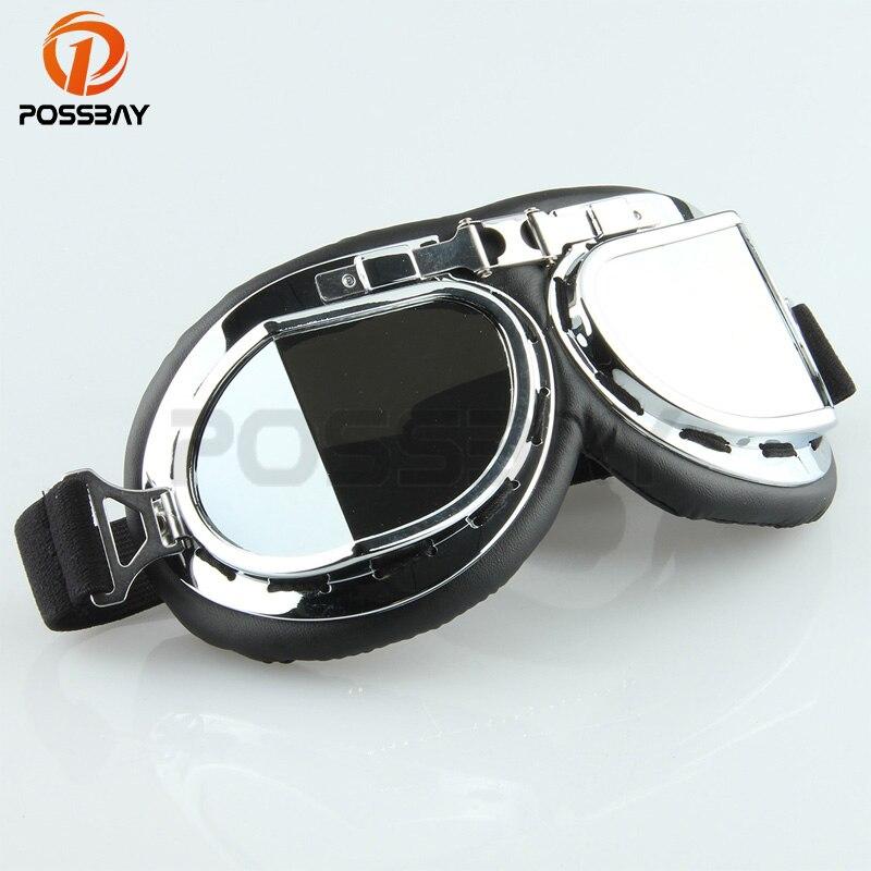 POSSBAY Vintage Glasses Motorcycle Lunette Motocross Goggles Off Road Glasses Skate Ski Goggles For Harley Cafe Racer Goggles