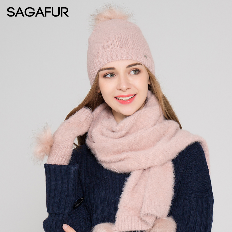 Warm Scarf Hat Glove Sets Women's Hat Winter Fur Pompom Beanies For Girls Elegant Skullies Solid Bonnet Soft Wool Blends Sets