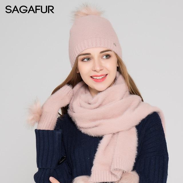1c71d712995 Warm Scarf Hat Glove Sets Women s Hat Winter Fur Pompom Beanies For Girls  Elegant Skullies Solid