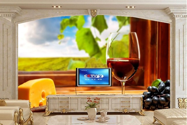 Custom 3d Murals,Wine Grapes Cheese Stemware Food Wallpaper,restaurant  Kitchen Dining Room Tv
