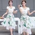 2017 envío libre de china nuevo summer dress de la gasa floja y poner Mujeres Ropa de Trabajo Ropa de Manga Corta Más El Tamaño de Las Mujeres ropa