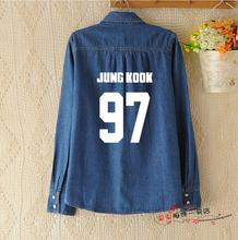 2017 Korean kpop bts lengthy sections spring Slim Cotton Massive dimension denim shirt k-pop V Bangtan Boys Feminine lengthy sleeves Skinny coat