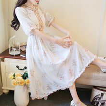 4652d7f130c Japanese Mori Girl Sweet Flowy Long Dresses For Female Summer Vintage Floral  Boho Elegant Ladies Chiffon