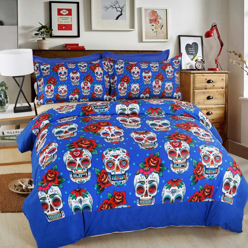 personalized sugar skull halloween bedding set duvet cover pillowcase bed sheets twin full queen. Black Bedroom Furniture Sets. Home Design Ideas