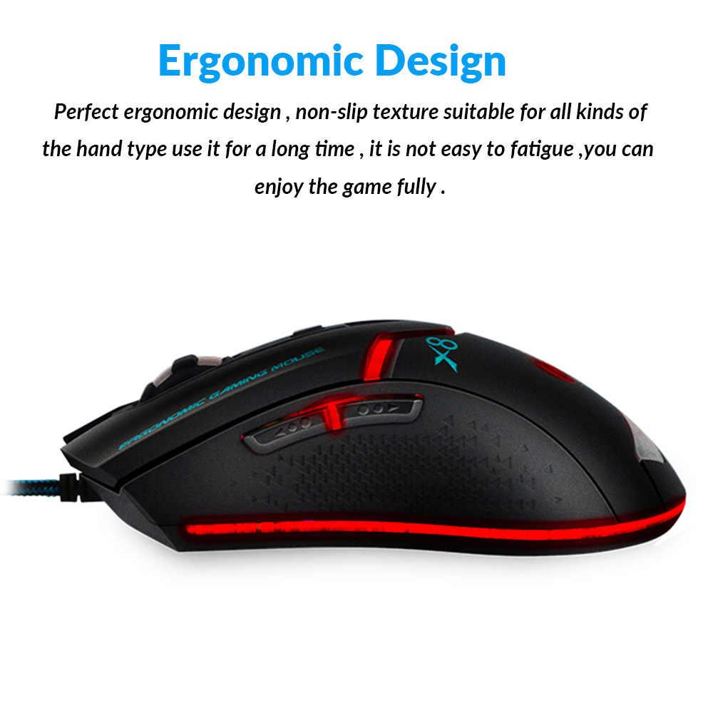 Imice USB Проводная игровая компьютерная мышь для геймеров, Регулируемая оптическая мышь 3200 dpi, игровая эргономичная мышь для ноутбука, ПК, мышь X8