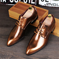 Patent leather pointed fashion casual shoes flat British style retro carved Metrosexual Bullock flats golden blue shoes us 9.5