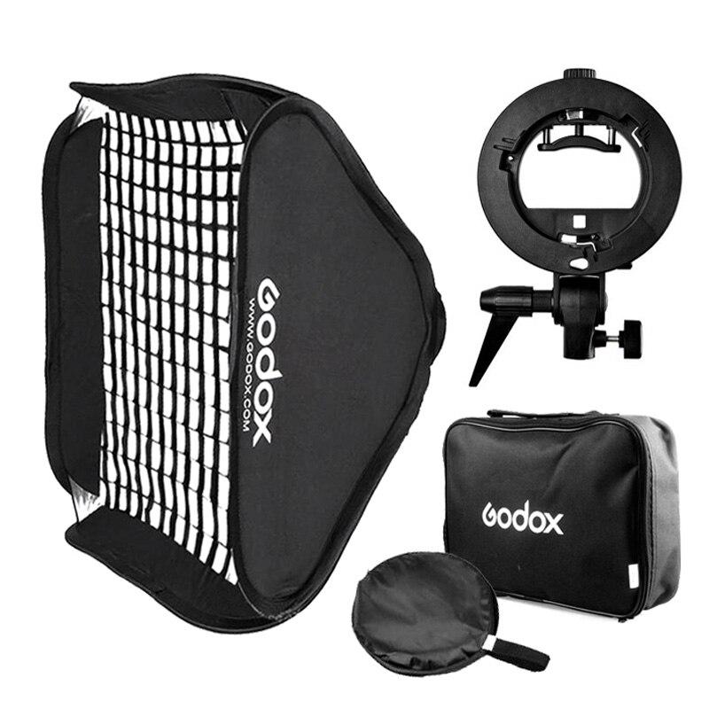 Godox 80 80cm 60 60cm Flash Honeycomb Grid Softbox S Type Bracket Bowens Mount Speedlite Adapter