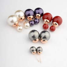 Real italina simulated pearl Rose Gold Plated Stud Earrings for women New Sale Hot Vintage Classic #RG87056