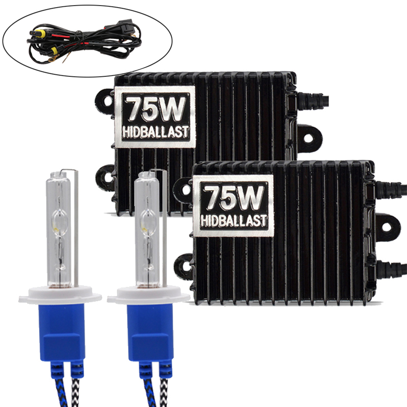 Niscarda H1 H3 H4 H11 9006 75W 4300K 6000K 8000K Ballast HID Xenon Kit 12V Car Light Headlight 9005 9006