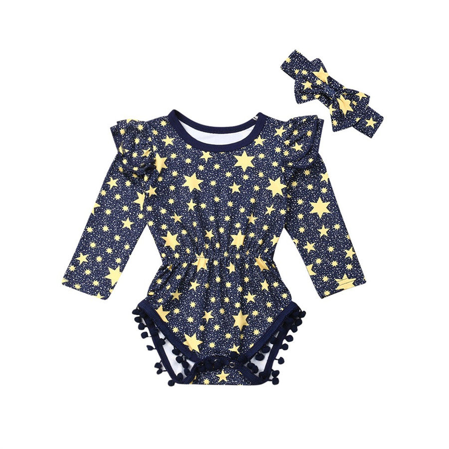 Cute Newborn Toddler Kids Baby Girl Long Flying Sleeve Cotton Star Tassel Romper Jumpsuit Headband Clothes Outfits Clothes Set(China)