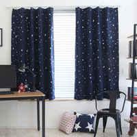 Enfants enfants fée étoiles motif occultant doublé rideau bleu marine 130*150 cm Rideaux Pour Le Salon