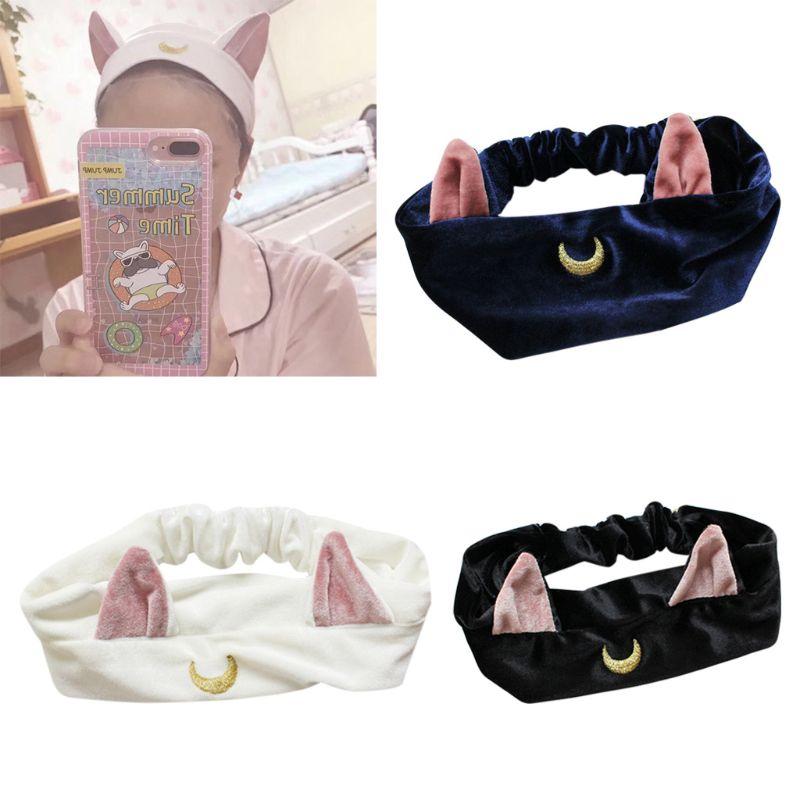 Jewelry & Accessories Women Cute Cat Ear Elastic Headband Cartoon Moon Embroidery Face Wash Hairband